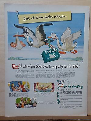 1946 magazine ad for Swan Soap - Free cake of soap, storks deliver baby & soap