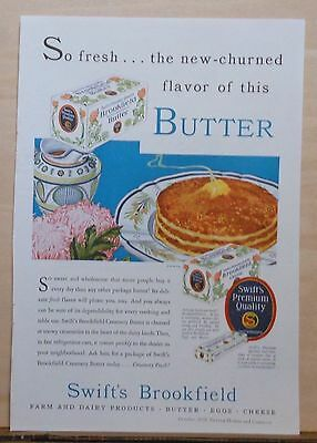 1930 magazine ad for Swift's Brookfield Creamery Butter - pancakes & butter