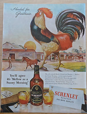 1946 magazine ad for Schenley Reserve Whiskey - giant rooster crows at stables