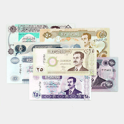 Set of 7 different Iraq Saddam notes 1990's-2000's Au-Unc.