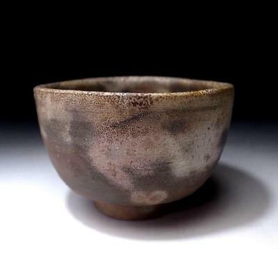 ZL7: Vintage Japanese Unglazed Pottery Tea bowl, Bizen ware, Natural ash glaze