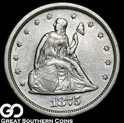 1875-S Twenty Cent Piece, Desired Short Lived Series, Choice Uncirculated Silver