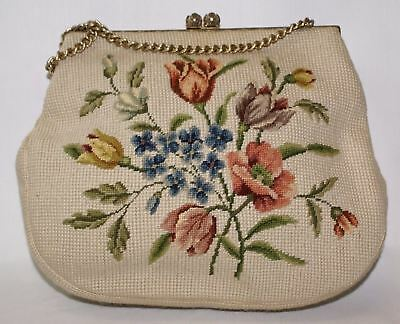 Christine Custom Handbag 1940's Vintage Floral Wool Tapestry Needlepoint Bag ES8
