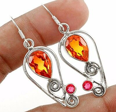 """5CT Double Color Tourmaline Quartz 925 Sterling Silver Earrings Jewelry 1 7/8"""""""