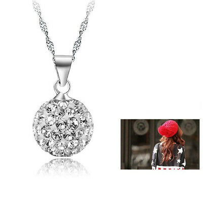 Fashion Silver Plated Women Rhinestone Crystal Pendant Necklace Chain Jewelry