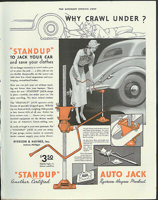 Why crawl under? Stand up to Jack Your Car Standup Auto Jack ad 1935