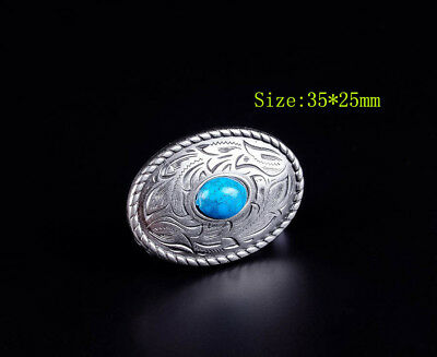 10Pc 35*25Mm Sliver Leathercraft Concho Decor Turquoise Floral Saddle Screwback
