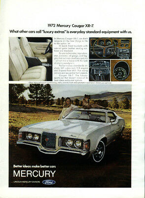 What other cars call luxury extras is standard Mercury Cougar XR-7 ad 1972