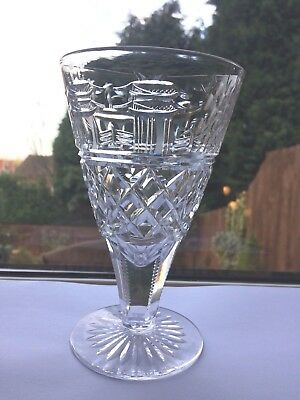 Superb Vintage Stevens and Williams Large Lead Crystal Chinoiserie Water Goblet
