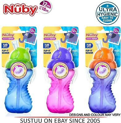 Nuby Flip It Cup Toddler Spill Proof Soft Silicone Straw Beaker Trainer 300ml