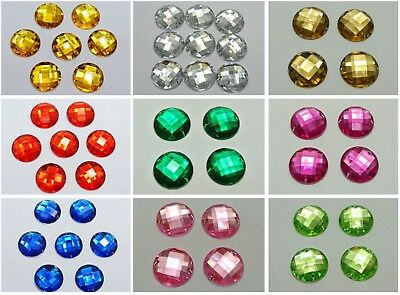50 Acrylic Flatback Round Sewing Rhinestone Gems Button 20mm Sew on beads
