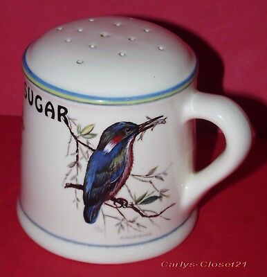 BRIXHAM POTTERY * Vintage Handled Sugar Shaker * Birds Design *