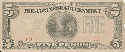 Currency Japan Philippines 1942 WWII  Occupation Peso Five 05 Note Circulated F
