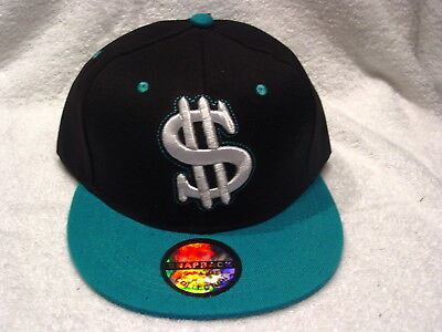 76f261616a74cc Dollar Sign Money Snapback Flat Bill Baseball Cap ( Black & Green ) #2