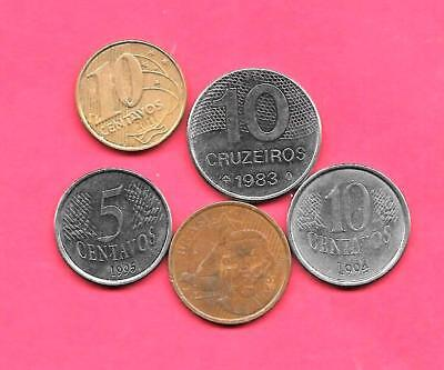 Brazil 5 Diff Different 1983-2011 Coin Lot Collection Set Inc Modern Coins