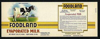 FOODLAND Vintage Cleveland Milk Can Label, Cow, AN ORIGINAL 1920's TIN CAN LABEL