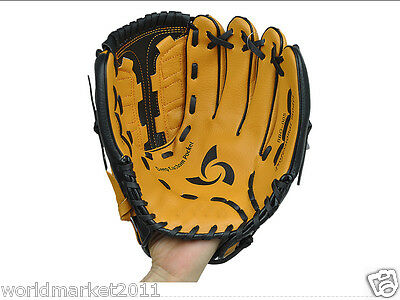 Sporting Goods PVC Material 12.5 Inches Wear-Resisting Baseball Glove Brown &$