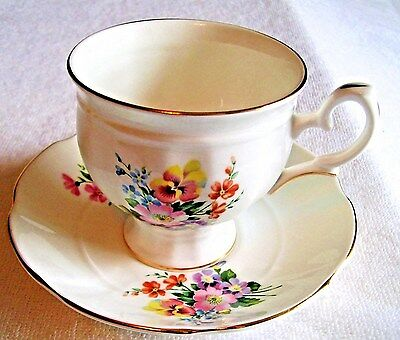 Crown Staffordshire Fine Bone China Teacup And Saucer Multi Color  Flowers