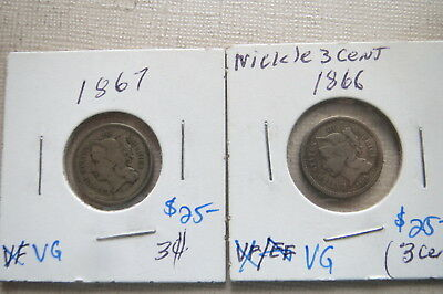 1866 and 1867 Three Cent Nickel 3c, Lot of (2), Free Shipping