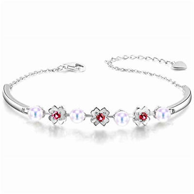 925 Sterling Silver Natural Garnet and Cultured White Pearl Love heart Bangle L