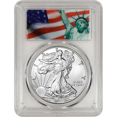 2017 American Silver Eagle - PCGS MS70 - First Strike Liberty Action View Label