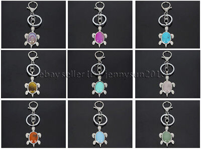 Natural Gemstone Turtle Charm Beads Silver Plated Key Ring