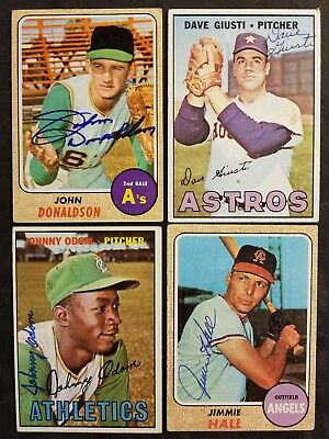 Nice lot of (4) assorted vintage autographed Baseball Cards Free Ship*