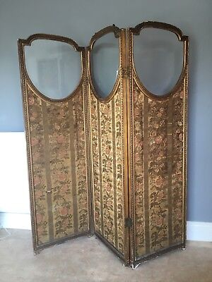 Beautiful Antique Edwardian Gilded Dressing Screen Room Divider Glass Panels