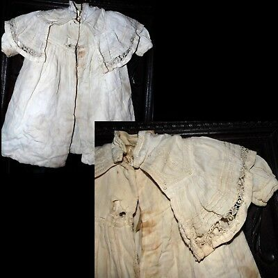 Antique Victorian 1800s Lovely Romantic Baby (Doll) Christening Dress Coat as is