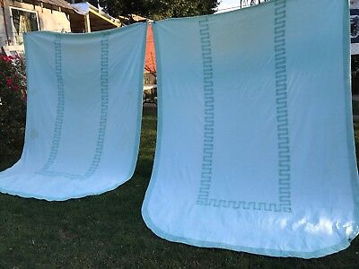 Pair Of Vintage Twin Size Cabin Craft Needletuft Green Chenille Bedspreads