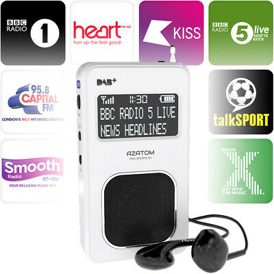 AZATOM Pro Sport DAB Radio FM Portable Travel Earphone Pocket Digital - White