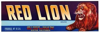 RED LION Brand, Exeter, California *AN ORIGINAL FRUIT CRATE LABEL*
