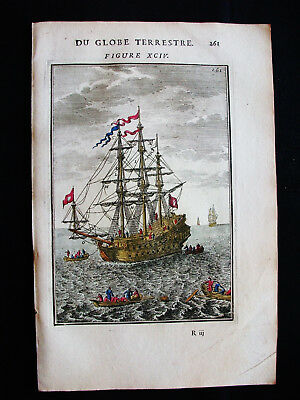 1683 MALLET - AMAZING rare VIEW of DIFFERENT TYPES of VESSELS, GUNBOATS, SHIPS..