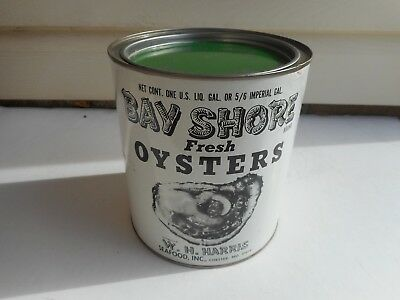 Vintage Bay Shore One Gallon Oyster Tin Can Maryland