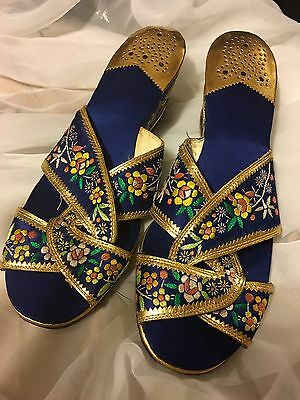 Vtg 1940s 4 Leather Lined Embroidered Silk Blue Slippers!