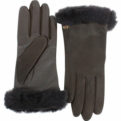 UGG Women's Classic Leather Smart Winter Gloves in Brown - M