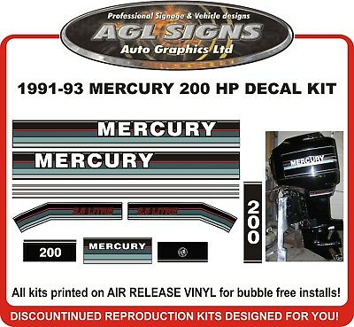 1991 1992 1993 MERCURY 200 HP  2.5 LITRE Reproduction Decal Kit  offshore avail.