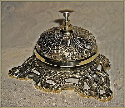 ORNATE FRONT DESK COUNTER BELL ~ solid antiqued brass ~ Victorian floral design