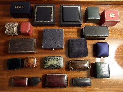 21 Genuine Antique Vintage Hinged Jewellery Boxes Tooled Leather Ring Brooch