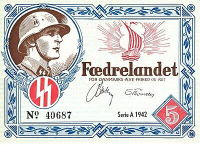 Currency Denmark 1942 WW2 Danish Legion Feldpost 5K War Era ncirculated