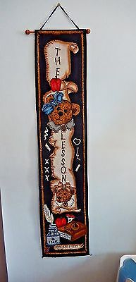 "Boyds Bears Tapestry  Bell Pull Wall Hanging ""THE LESSON"" Teacher Love Books"