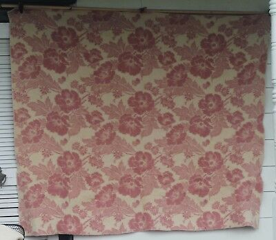 VINTAGE pink white WOOL BLANKET mint condition montgomery ward reversible