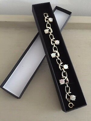 Vintage 70s Gold Tone Stylised Floral Faux Mother Of Pearl Bracelet In Gift Box