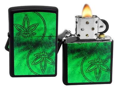 Zippo 218 Neon Marijuana Leaves Black Matte Finish Windproof Pocket Lighter New