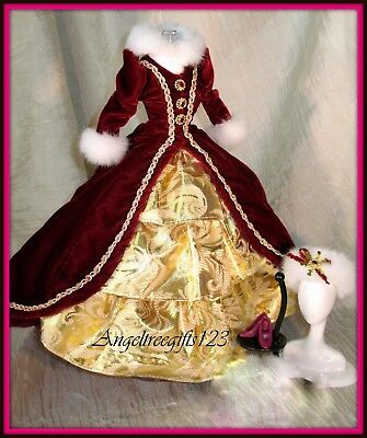 Beautiful Gold and burgundy winter dress Ball gown silkstone Barbie