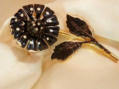 Vintage 50's X Cute Black Enamel Flower Brooch 9207