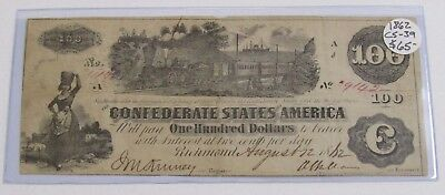 1862 CS-39 The Confederate States Of America One Hundred Dollar Note