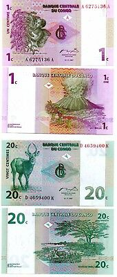 CONGO    2  great  different UNC  1  &  20  centimes