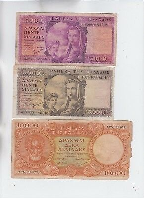 Greece Paper Money 3old notes lower grade and up