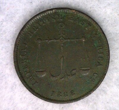 MOMBASA 1 PICE 1888 (1306 AH)  British East Africa COIN (Stock# 0337)
